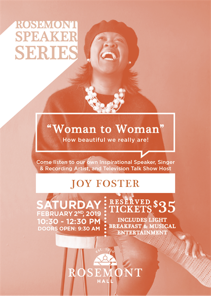 "Rosemont Speaker Series - ""Woman to Woman"" with Speaker, Joy Foster"